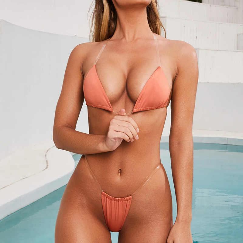 Сексуальные женские купальники-бикини 2019 Mujer, прозрачный растягивающийся мини-купальник на бретелях, женские купальники, женский купальный костюм, Пляжное бикини