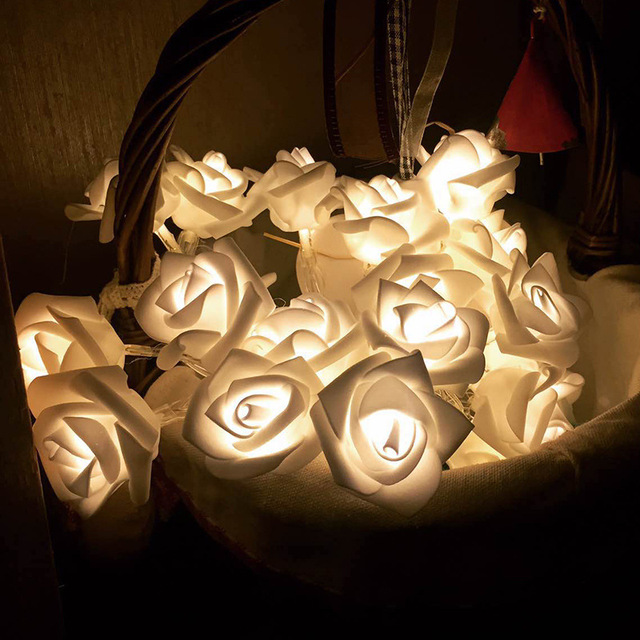 Us 3 26 9 Off Led Rose Lamp String Rose Lantaarn Batterij Kerstverlichting Indoor Bruiloft Trouwzaal Decoratie Groothandel Custom Flash In Led Rose
