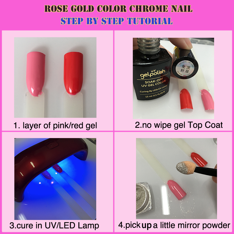 Aliexpress.com : Buy rose gold chrome nail effect on pink color ...