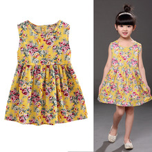 Sleeveless dress with floral print cotton summer dress