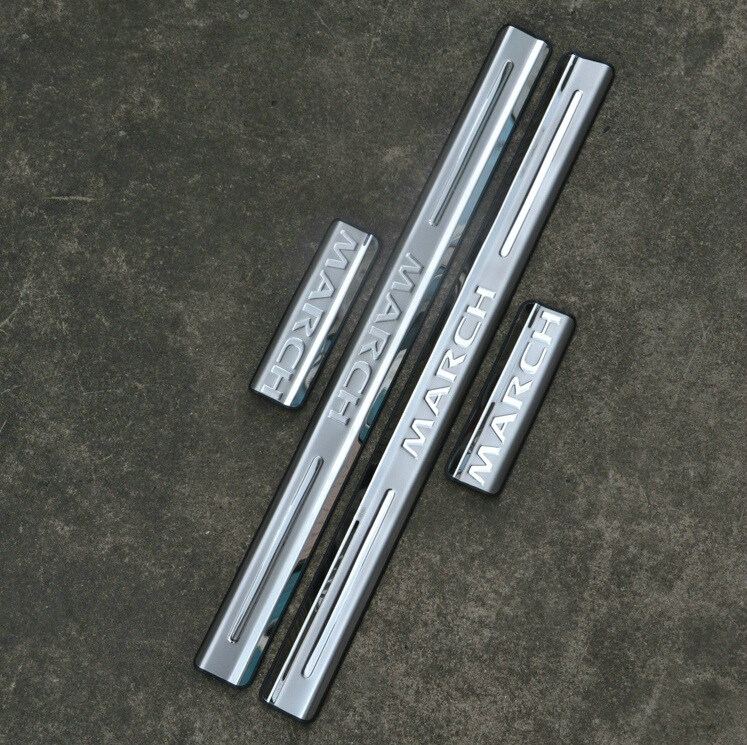 For Nissan March 2010 2011 2012 2013 2014  Stainless steel  door sill  Scuff Plate Car accessories
