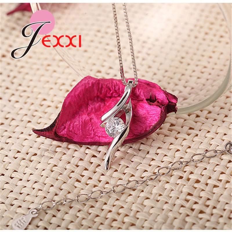Genuine 925 Sterling Silver NEW Fashionable Design Pendant Necklace CZ Wedding Jewelry Pretty Chain For Women/Grils 2