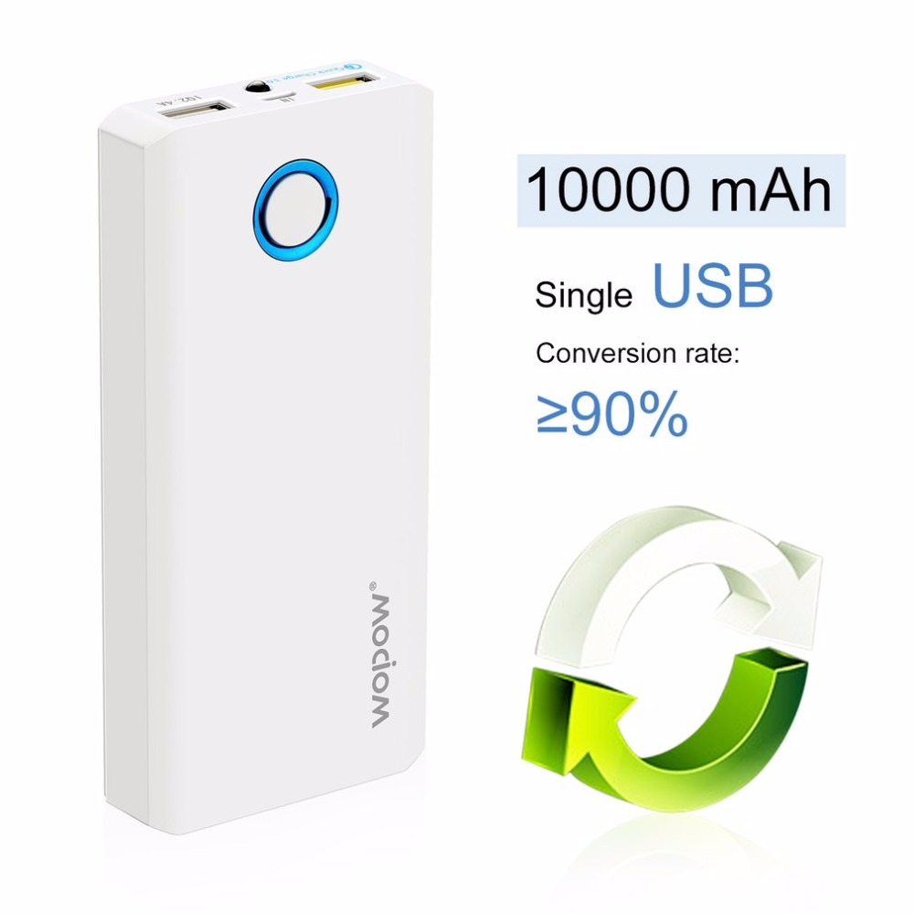 Wopow High Capacity Mobile PowerE10000plusQ Dual USB Output Quick Charging External Battery Pack With LED Flashlight