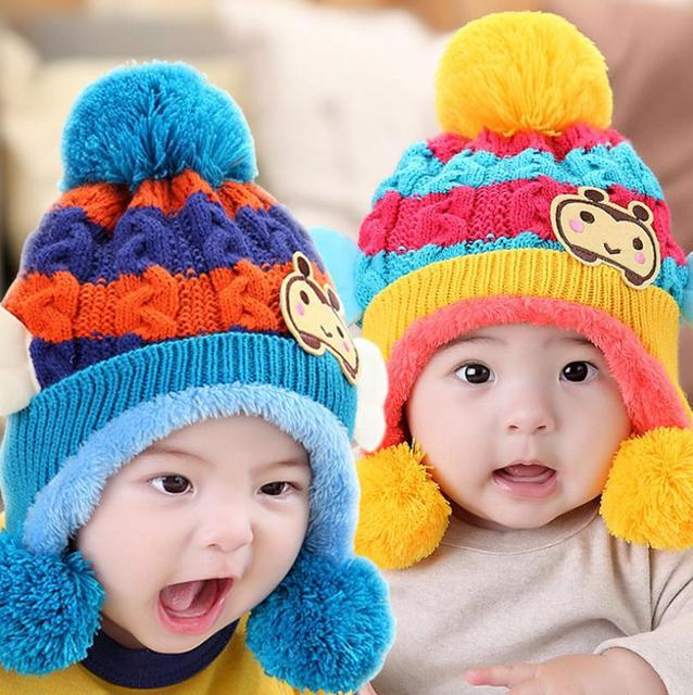 2015 Korean Cute little bee Children knitted Hats baby girls Winter Hat Kids  Earflap Cap age 6774d0ba18