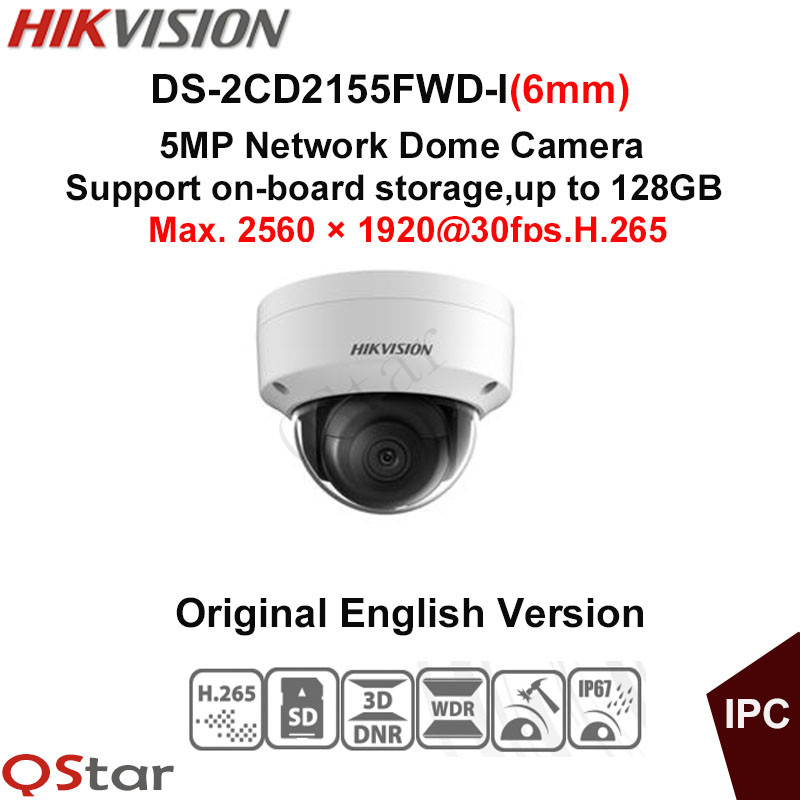 Hikvision Original English Version Surveillance Camera DS-2CD2155FWD-I(6mm) 5MP Dome IP Camera H.265 IP67 on-board storage 128G hikvision original english version ds 2cd2152f i 5mp ir fixed dome ip camera 30m ir on board storage optional cctv camera