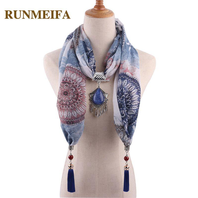 RUNMEIFA Luxury Scarf Necklace Jewelry Pendants Fashion Decoration Cotton Resin Tassel Scarves Free Shipping