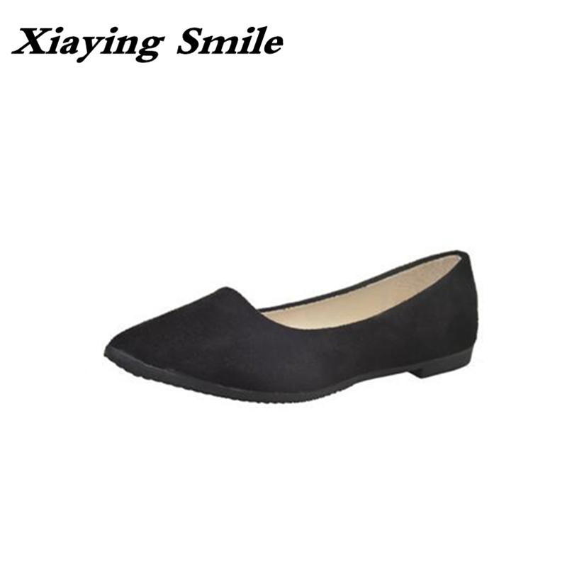 Xiaying Smile Flats Shoes Women Boat Shoes Spring Summer Office Casual Loafers Slip On Pointed Toe Shallow Rubber Women Shoes xiaying smile summer women sandals casual fashion lady square heel slip on flock shoes pointed toe cover heel lace bowtie shoes page 1