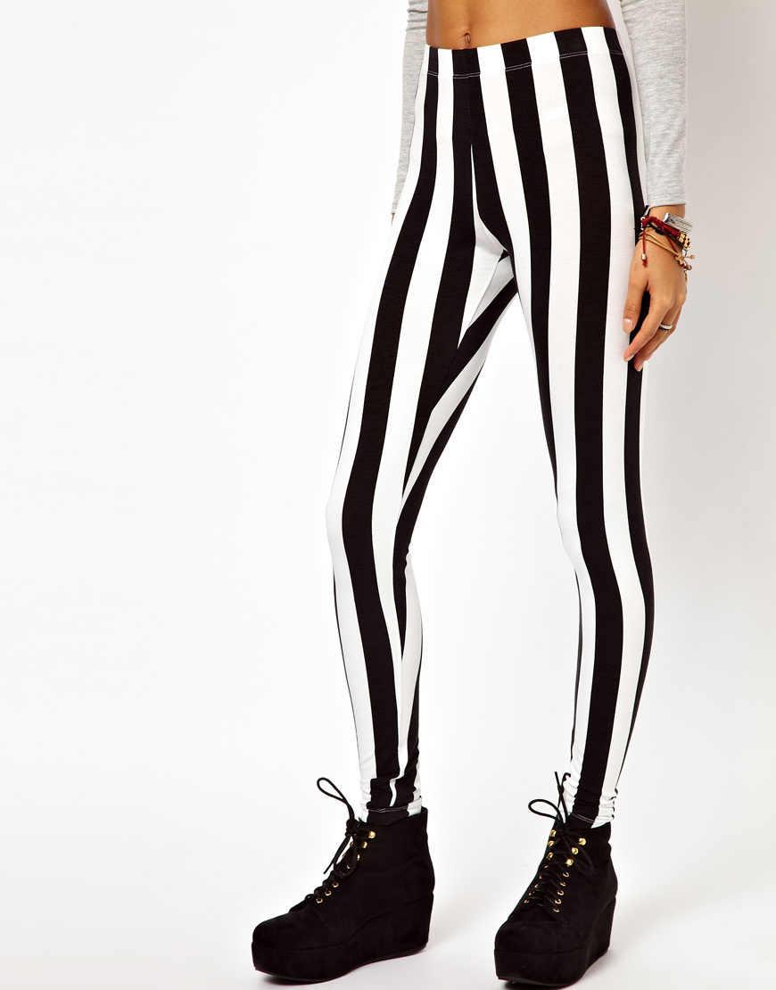 673b292096f87e ... 2019 Women's Black and White Spandex Zebra Print Fashion Sexy Fitness  Leggings Vertical Striped Pants For