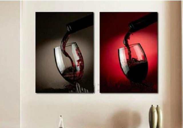 Hand made 2 piece wine glass wall art Modern abstract Oil Painting ...