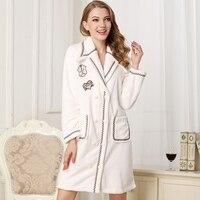 Women Solid Long Bathrobe With Sleeves 2019winter Coral Fleece Sleep Lounge Womens Robes Dressing Gowns For Women SleepwearM 2XL