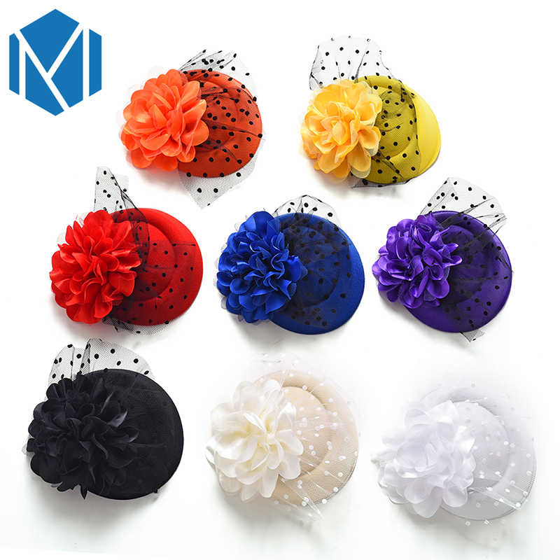 Floral Hat Yarn Hairpin Hair Clip Party Fascinator Women Flower Hairgrip Headwear Hair Accessories Girl Festival Clamps Barrette