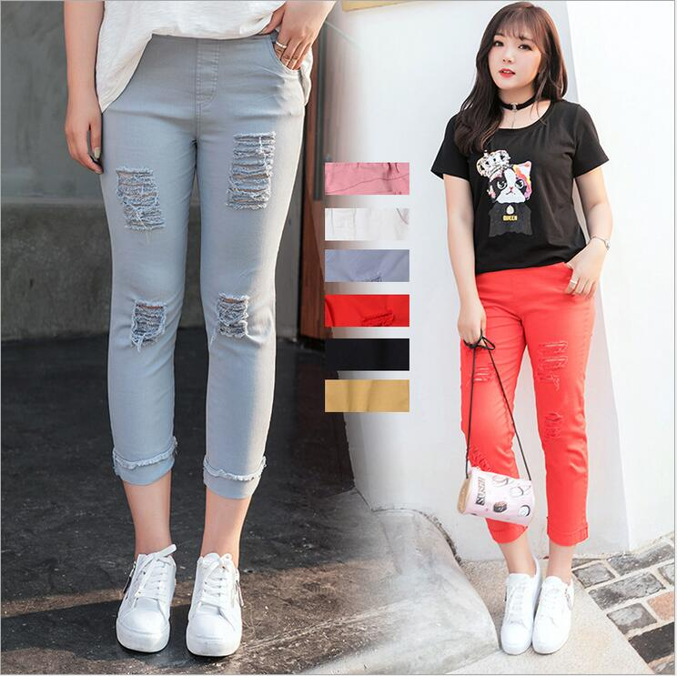 2017 New Fashion Korean Plus Size XL~4XL Ripped Holes Pants Candy Color Mid-Calf High Elastic Skinny Pencil Leggings LG15
