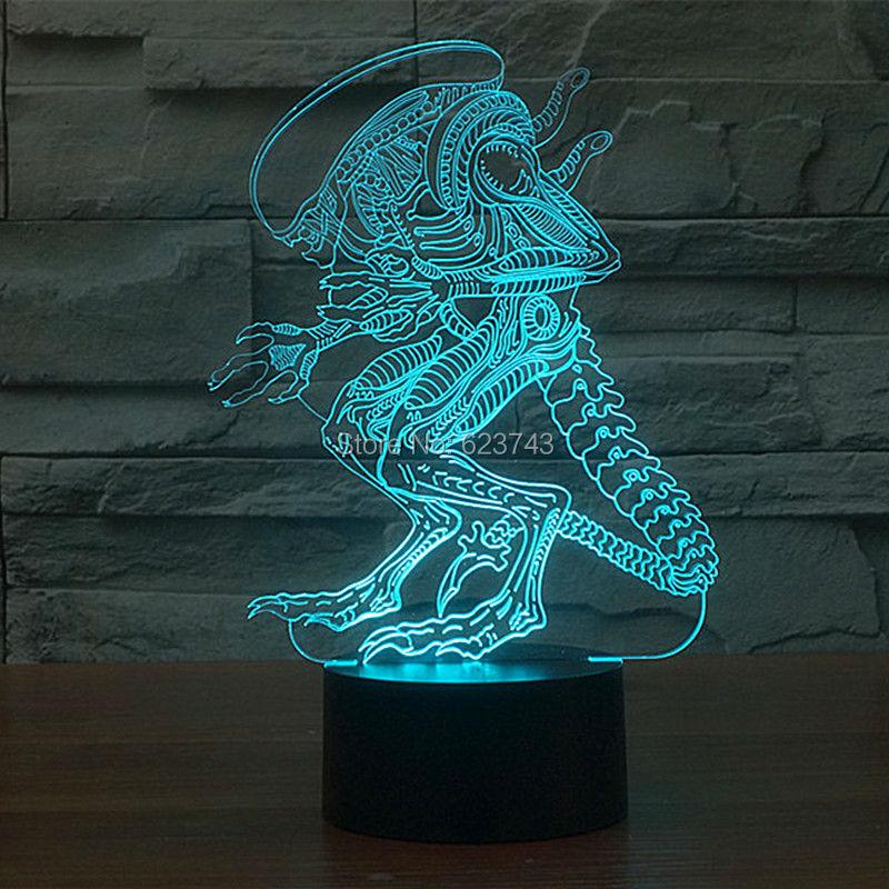 Ücretsiz Kargo 7 renk değiştirme Akrilik 3D Alien Canavar Bebek - Gece Lambası - Fotoğraf 3