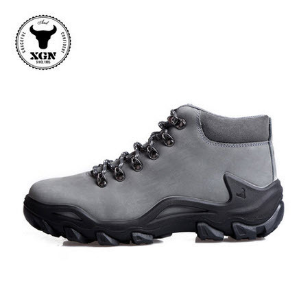 Domineering Lightweight Mens Hiking Boots Waterproof Genuine Leather DESMA  Best Comfortable Mountain Hiking Shoes for Men Grey 45606d70c