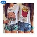 Mar mao 2016 Verão Harajuku Do Punk t shirt Mulheres Hambúrguer e Batatas Fritas Impresso camiseta Feminina Melhores Amigos Engraçado Tees