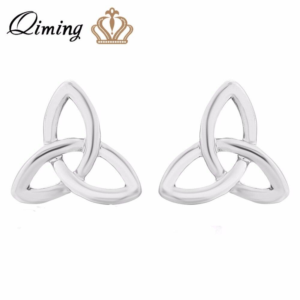 1pair Gold Silver  Knotten Trine Studs Shaped Earrings For Women ManGift Stud Earrings gold earrings for women