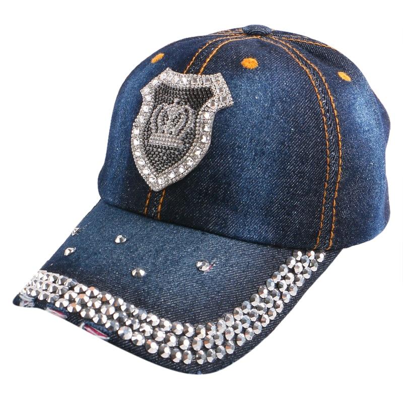 hot sale women rhinestone luxury crown snapback denim cotton colorful  beauty outdoor girl cute baseball cap strapback hat gorras e827a45cfb70