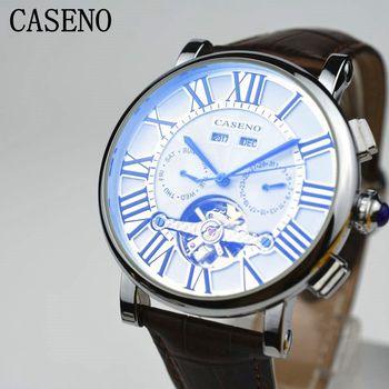 2017 CASENO Tourbillon Rome Style Mens Watch Brand Luxury Watch Men Automatic Mechanical Watch Classic Men Skeleton Male Clocks 機械 式 腕時計 スケルトン