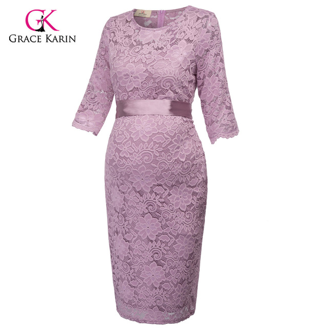 Grace Karin Short Evening Dresses Bodycon Sheath Half Sleeve Lace Formal Maternity Gowns Elegant Wedding Party Dresses Belt