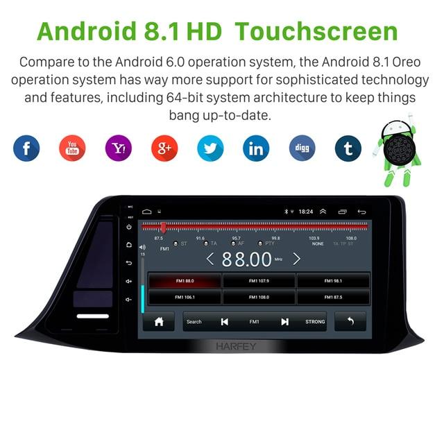 "Harfey 자동차 GPS Navi 스테레오 9 ""Android 8.1 for Toyota C-HR 2018 2019 오른쪽 핸들 헤드 유닛 지원 미러 링크 SWC TPMS DVR"
