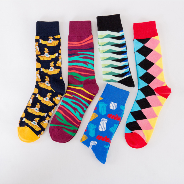Jhouson 1 pair Wholesale Colorful Men's Funny Combed Cotton Causal Skateboard Socks Crew Dress Wedding Socks Novelty Happy Socks 2