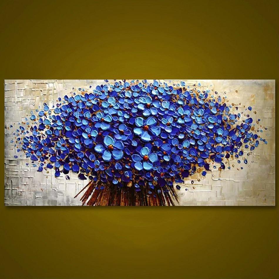 Pannello senza cornice Blu Scuro Fiore Albero di Spessore Spatola Pittura Home Decor Pittura A Olio Dipinta a Mano Immagine Wall Art Regalo