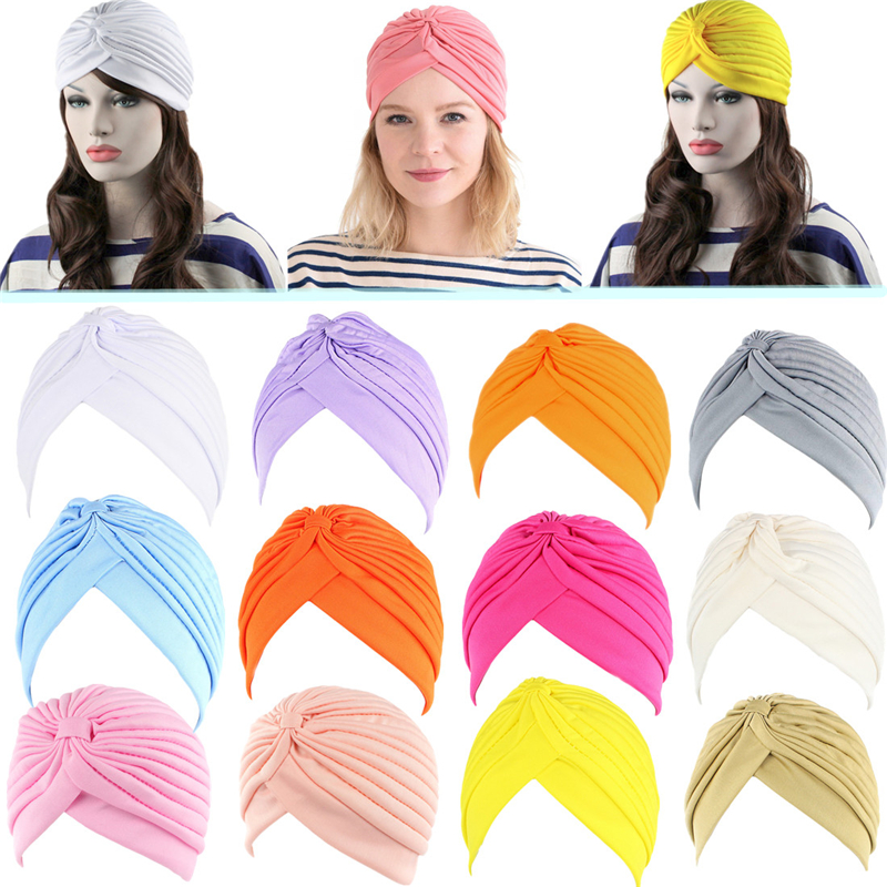 Turban Hat Scarf Headwear Chemo-Hat Muslim-Head Cancer Indian Vintage Ladies Pleated