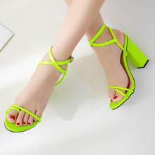 Women's summer shoes Sexy High-heeled Sandals Open Toed Buckle Strap Sandal Flip-flop Square Heel Footwear Bandage Sandals Pumps стоимость