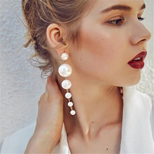 ZCHLGR Fashion Charm Big Simulated Pearl Long Earrings for Women Statement Drop Wedding Party Lady Gift