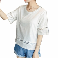 Mori T Shirt Women 95 Cotton Half Sleeve Short Shirts Summer O Neck Lace Decoration Grey