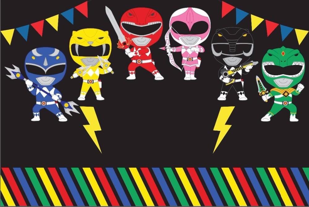 7x5ft Baby Power Ranger Flags Black Wall Custom Photo