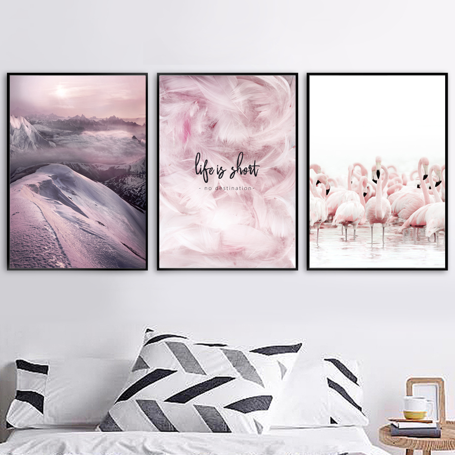 Mountain Sea Beach Pink Feather Flamingo Wall Art Canvas Painting Nordic Posters And Prints Wall Pictures For Living Room Decor in Painting Calligraphy from Home Garden