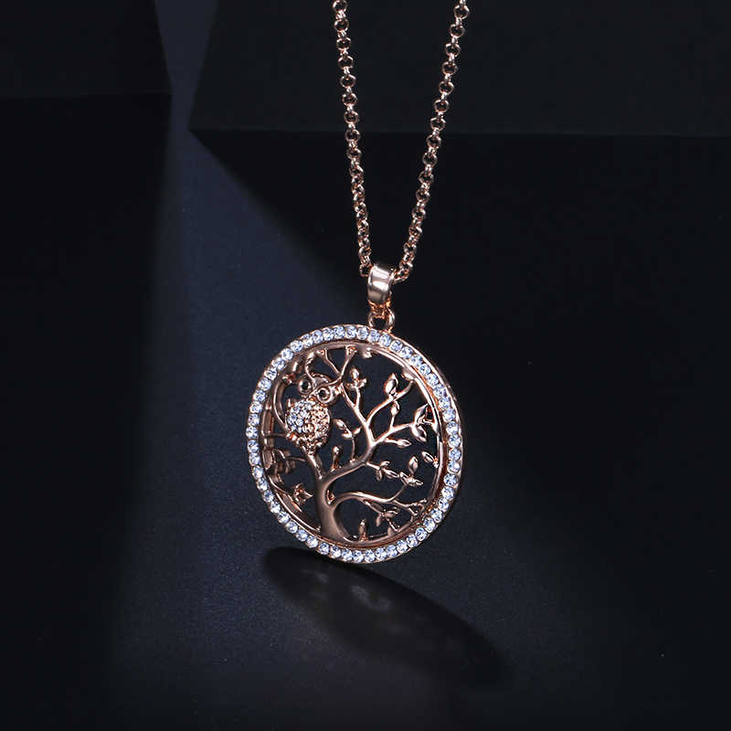 Owl Tree of Life Necklaces & Pendants Gold Chain Long Necklace Women CZ Crystal Fashion Statement Jewelry Gift 2018 Dropshipping