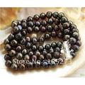 4 Filas 8'inchs AA 8-9 MM Negro Cultivadas de agua dulce Brazalete de Perlas 925 Corchete Redondo Color Encantador de Las Mujeres Joyería de FN1994
