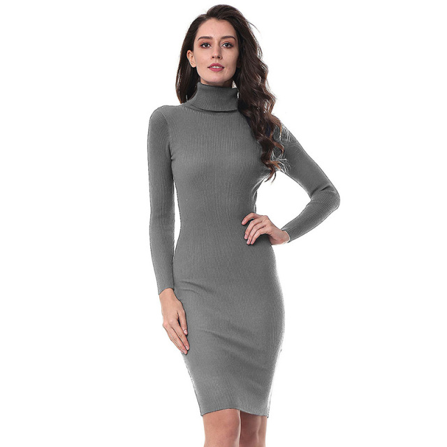 Kenancy 5 Colors Solid Turtleneck Mid-Calf Warm Knitted Sweater Dress Women Elegant Slim Long Sleeve Bodycon Vestidos Elastic