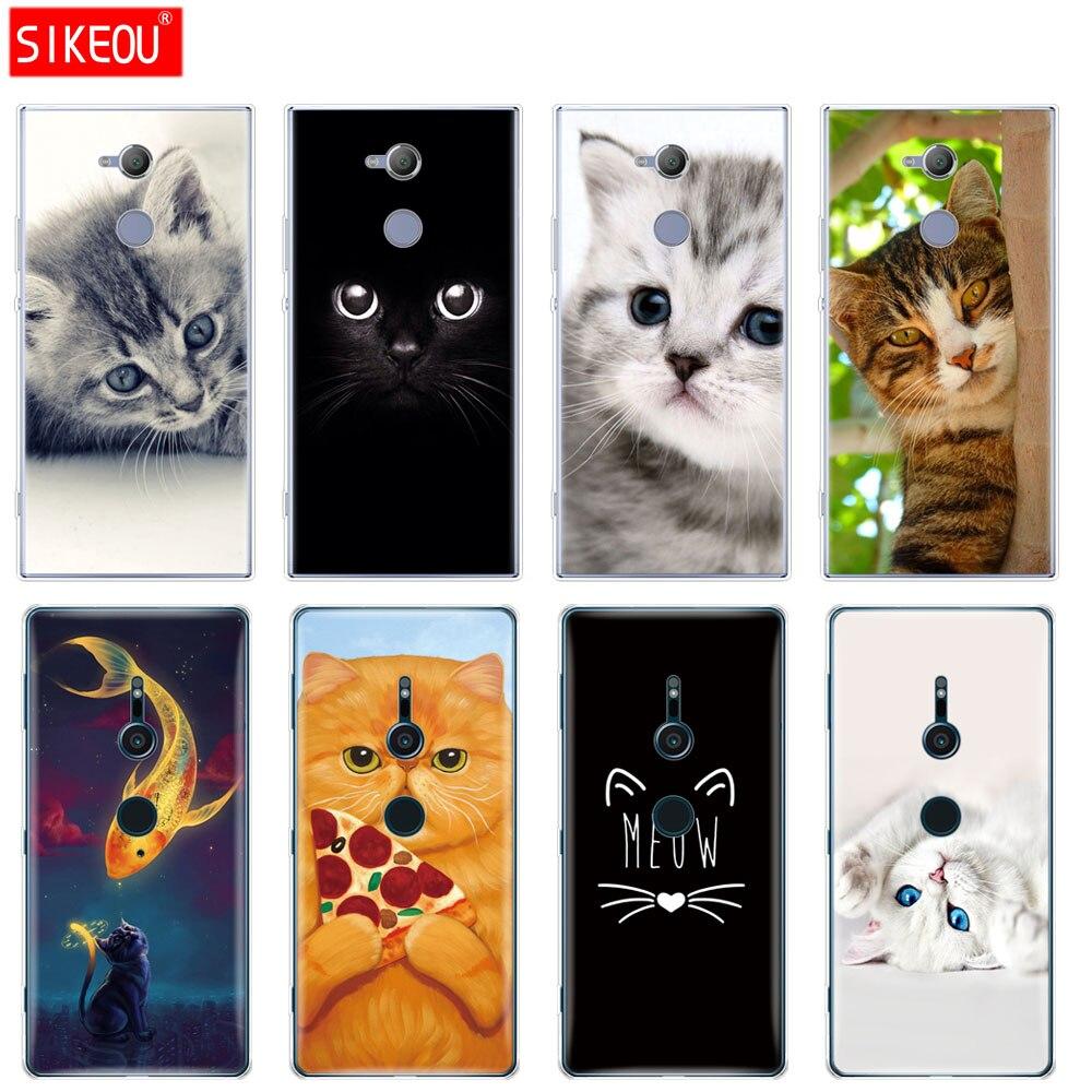 silicon Cover <font><b>phone</b></font> <font><b>Case</b></font> for sony <font><b>xperia</b></font> XA1 XA2 ULTRA PLUS <font><b>L1</b></font> L2 XZ1 XZ2 compact XZ PREMIUM cat kitty blue eyes cute animal pet