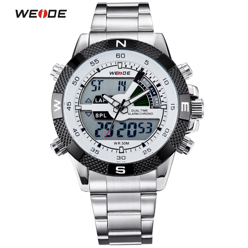 WEIDE Luxury Brand Men Watch LED Backlight Clock Stainless Steel Quartz-watch Sport Watches Male Relogio Masculino de luxo weide luxury brand quartz sport relogio digital masculino watch stainless steel analog men automatic alarm clock water resistant