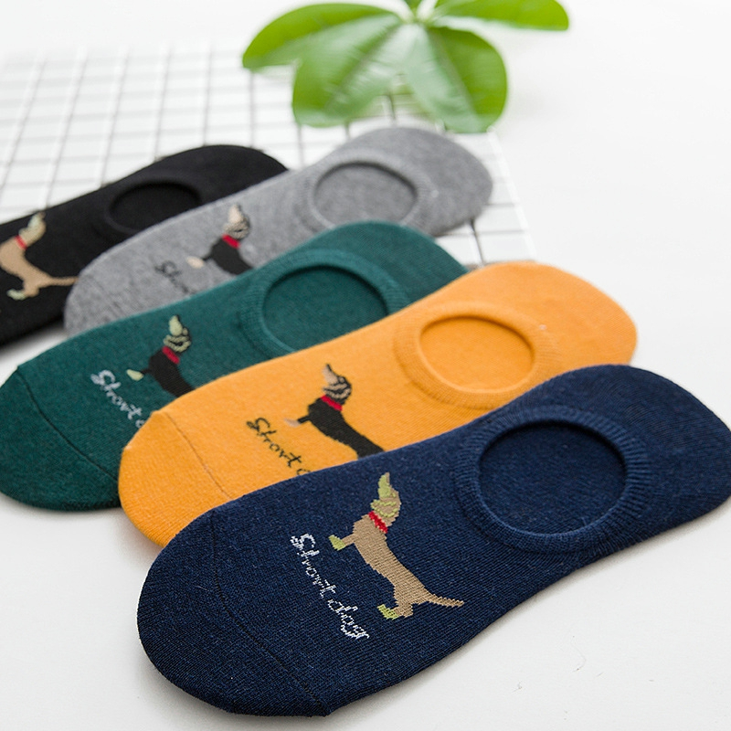 Casual 5 Pairs/Lot Adult Silica Gel Non-slip Dog Pattern Cotton No Show Socks For Men Brand Spring&Summer Ankle Sock Men Socks