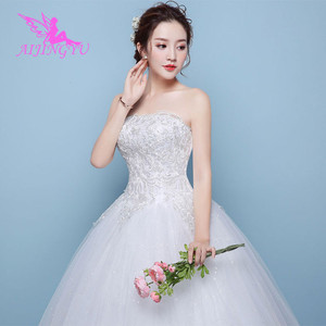 Image 3 - AIJINGYU 2021 braut neue heißer verkauf günstige ballkleid lace up zurück formale braut kleider hochzeit kleid WK450