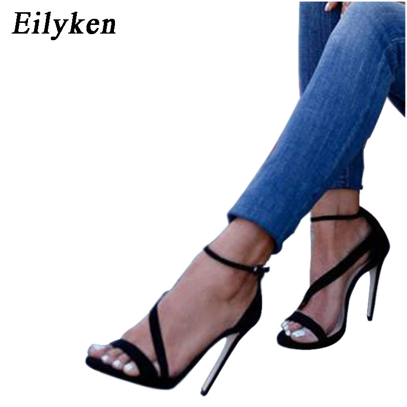 Eilyken 2019 New Women Sandals Open Toed High Heels Sexy Buckle Strap Women Cover Heel Sandals Pumps BlackEilyken 2019 New Women Sandals Open Toed High Heels Sexy Buckle Strap Women Cover Heel Sandals Pumps Black