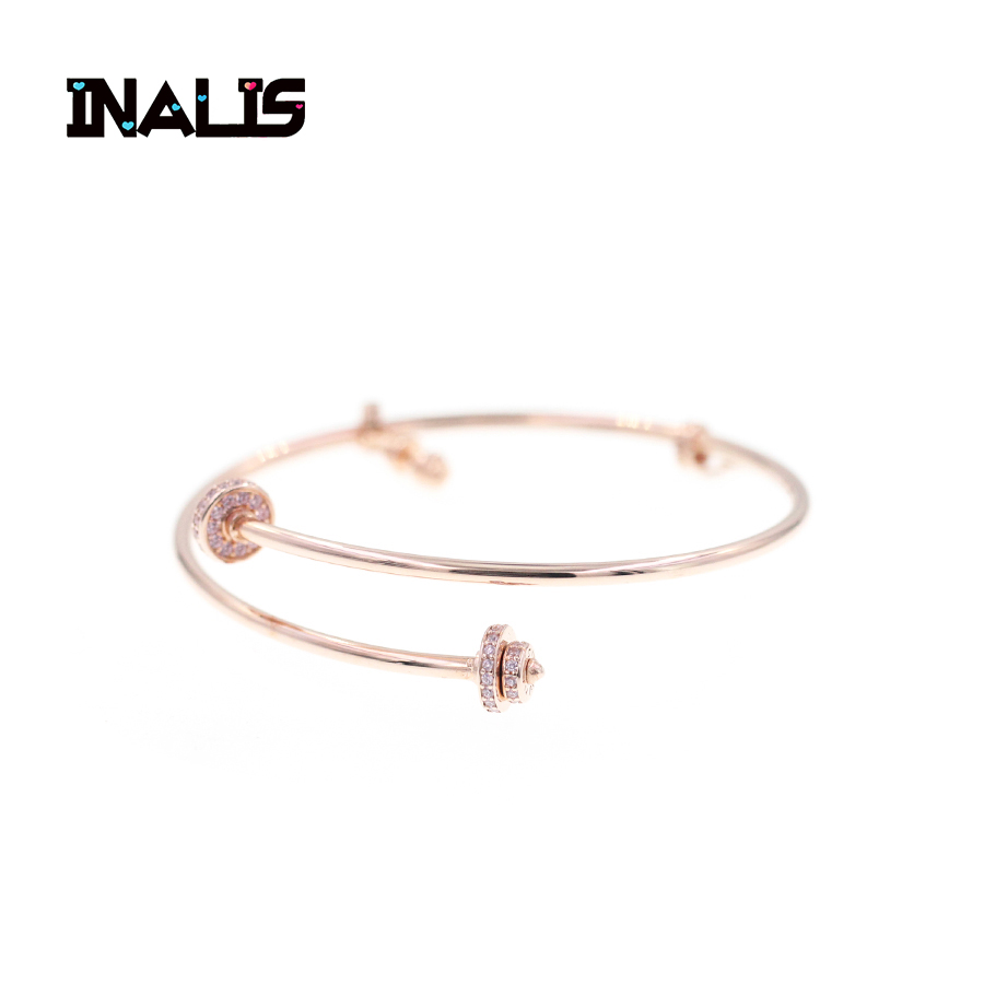 INALIS Delicate High Quality Bracelet 925 Sterling Silver Jewelry Shining Crystal Gold Color Rawness Barbell Bangle for Women elegant shining crystal alloy bracelet