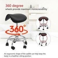 (Ship UK) Adjustable Salon Stools Ergonomic Hairdressing Styling Chair 360 Degree Nylon Wheels Beauty Chair Rolling Saddle Stool