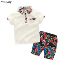 Niosung New 1Set Summer Children Baby Boys Short Sleeve T-shirts Tops+Floral Pants Outfits Clothes Kids Child Cloting Suit