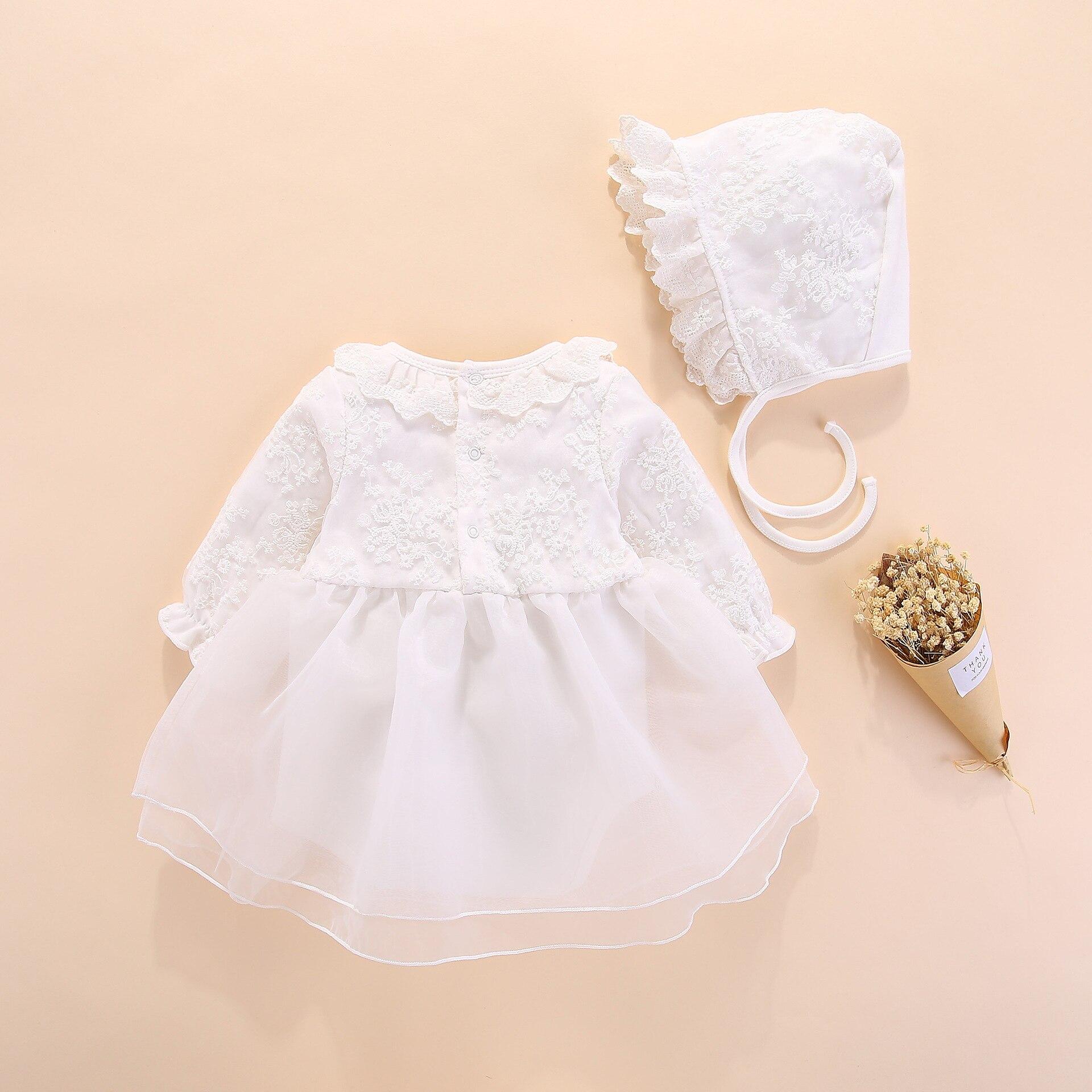 Z długim rękawem dziewczynek sukienka księżniczka i na ślub chrzest dzieci sukienki noworodka dziewczynka ubrania różowy zestaw z kapeluszem koronkowe