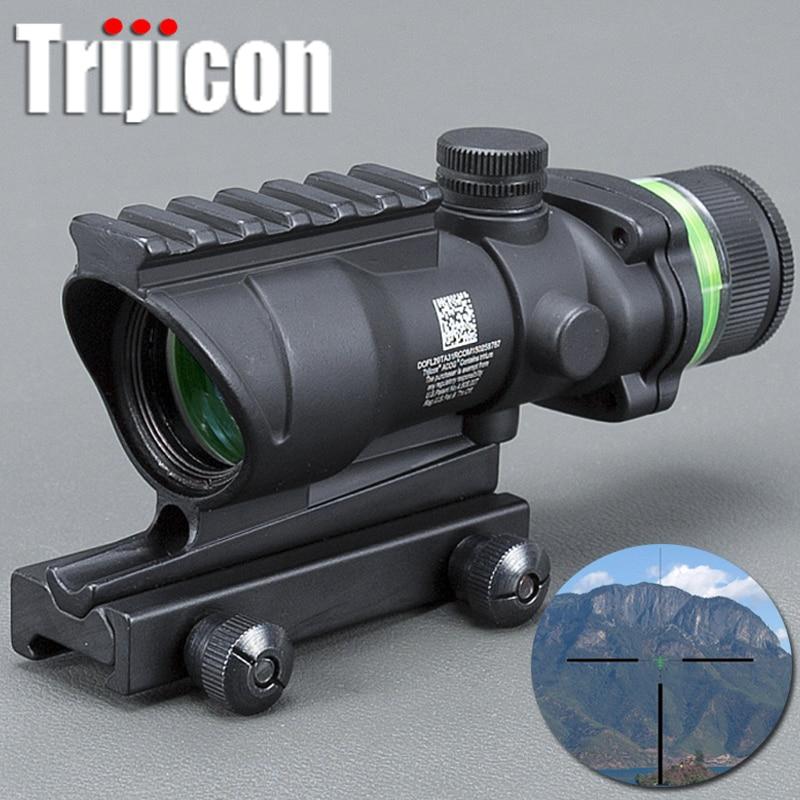 4#bzg Tactical Acog Style 4x32 Rifle Scope Bk Red Dot Green Optical Fiber 20mm Rail Scope Mounts&accessories Mildot стоимость