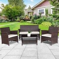 4 шт. уличная мебель из ротанга для патио плетеный диван набор Современная Высококачественная уличная мебель стол и стул патио HW57026