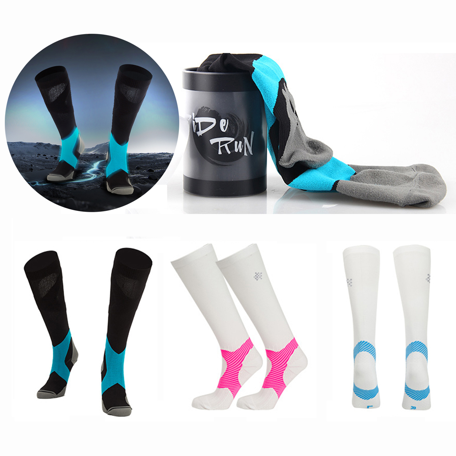 1 Pair Compression Socks Cycling Sports Stockings for Hiking Running Marathon Football Men Women Athletic Riding Bike Long Socks