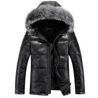 Бесплатная доставка 2017 новое поступление мужская пуховая куртка короткая заметка с капюшоном толстый меховой воротник кожаная куртка мода