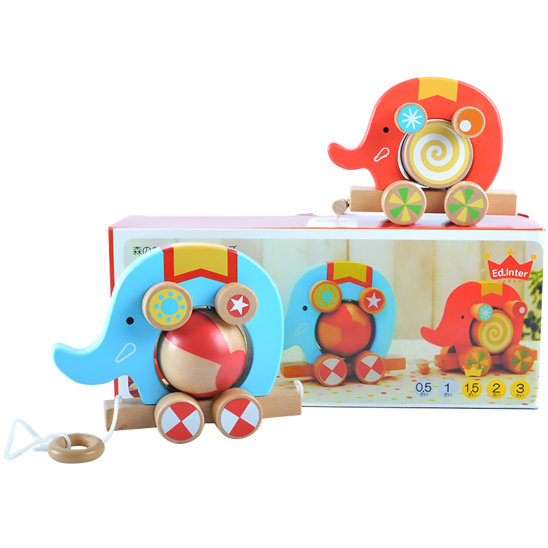 Wooden childrens toy elephant drag toy car fun roller game 2pcs childrens cognitive educational toys childrens gifts ...