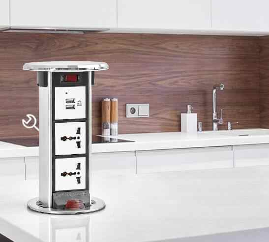 Logam Cap Dapur Meja Kerja, meja Kantor Pop Up Menarik Plug Socket-Stainless Steel Logam Uni Eropa USA UK Standar Desktop Power Socket